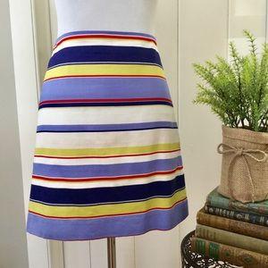 LOFT Blue & Red Striped Cotton Pencil Skirt
